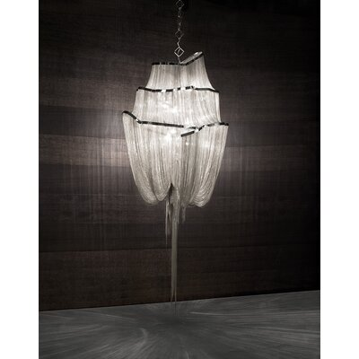 Atlantis 3 Tier 6-Light Crystal Chandelier Finish: Nickel, Size: Medium
