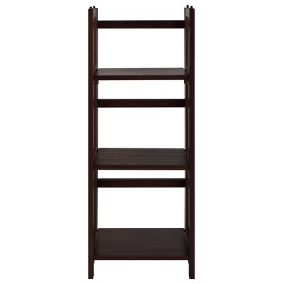 3 Shelf Folding Stackable 38 Accent Shelves Bookcase Finish: Walnut