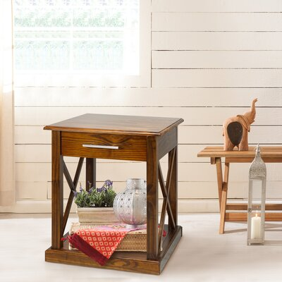 Stronghurst End Table With Storage Color: Warm Brown