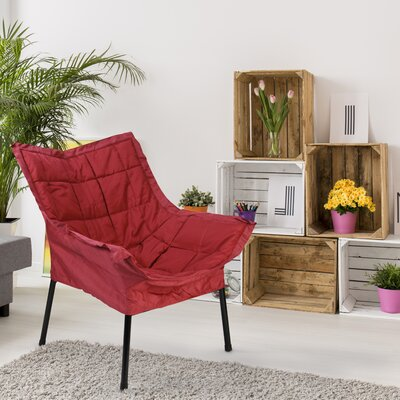 Milano Fabric Lounge Chair Color: Burgundy, Finish: Black