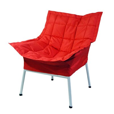 Milano Fabric Lounge Chair Finish: White, Color: Red
