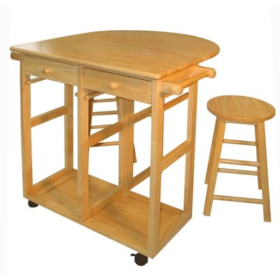 Casual Home Kitchen Cart Frame Finish: Natural - Kitchen Island - Portable Kitchen Islands Shop