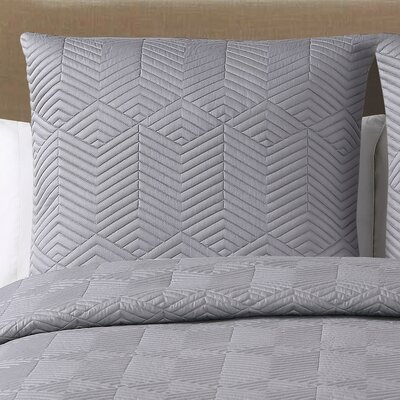 Landen Quilted Cotton Euro Sham Color: White