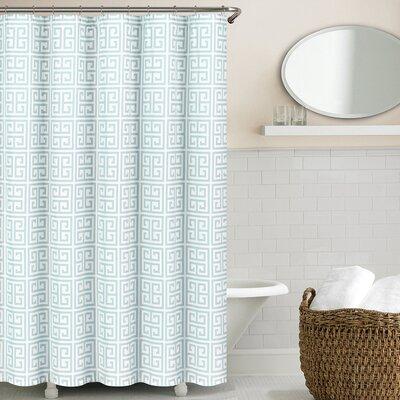 Greek Key Shower Curtain Color: Spa Blue