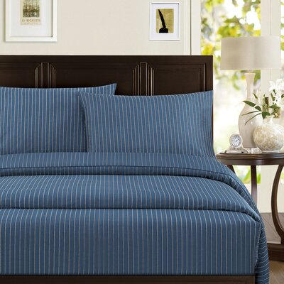 Pinstripe 300 Thread Count 100% Cotton Sheet Set Size: King, Color: Blue