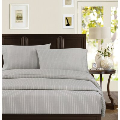 Echelon Home Pinstripe 300 Thread Count 100% Cotton Sateen Sheet Set - Size: Full, Color: Taupe