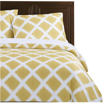 Diamond Ikat Duvet Set Color: Marigold, Size: Full / Queen