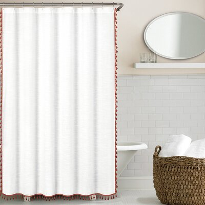 Suffield 100% Cotton Tassel Shower Curtain Color: Marsala