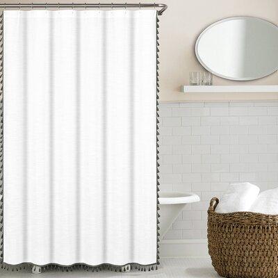 100% Cotton Tassel Shower Curtain Color: Gray