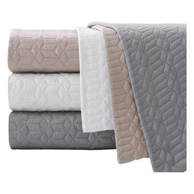 Tucker Quilted Cotton Euro Sham Color: Gray