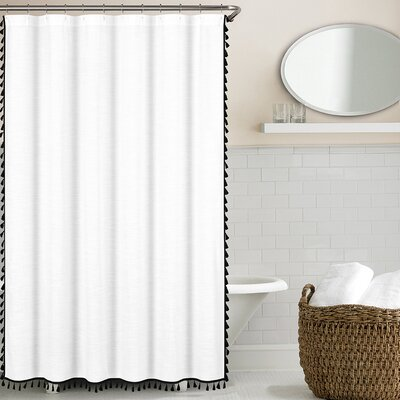 Suffield 100% Cotton Tassel Shower Curtain Color: Black