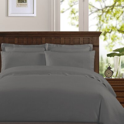 Bernadette Washed Belgian Linen Sheet Set Color: Slate Gray, Size: California King