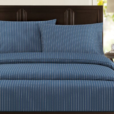 Pinstripe 300 Thread Count 100% Cotton Sateen Sheet Set Color: Blue, Size: Queen