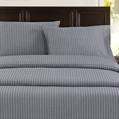 Pinstripe 300 Thread Count 100% Cotton Sateen Sheet Set Color: Charcoal, Size: California King