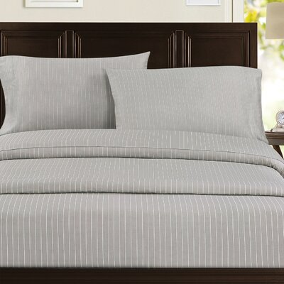 Pinstripe 300 Thread Count 100% Cotton Sateen Sheet Set Color: Taupe, Size: King