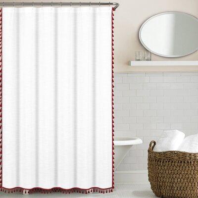 100% Cotton Tassel Shower Curtain Color: Claret