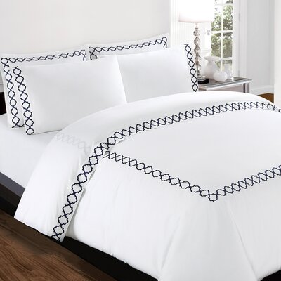 Quatrefoil Embroidery 300 Thread Count 100% Cotton Sheet Set Color: Navy, Size: California King