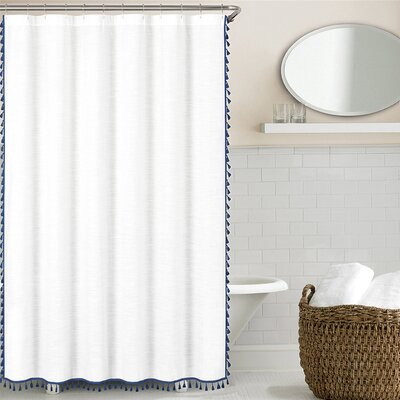100% Cotton Tassel Shower Curtain Color: Lake Blue