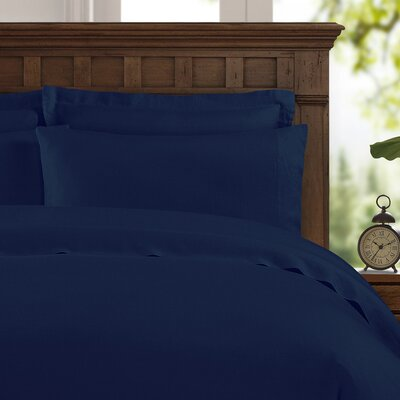 Bernadette Washed Belgian Linen Sheet Set Color: Indigo Blue, Size: Queen