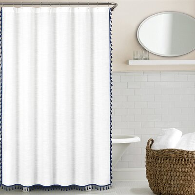 Suffield 100% Cotton Tassel Shower Curtain Color: Navy