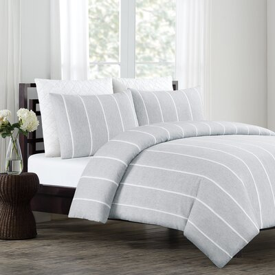 Soho 3 Piece Duvet Cover Set Color: Pale Gray, Size: King