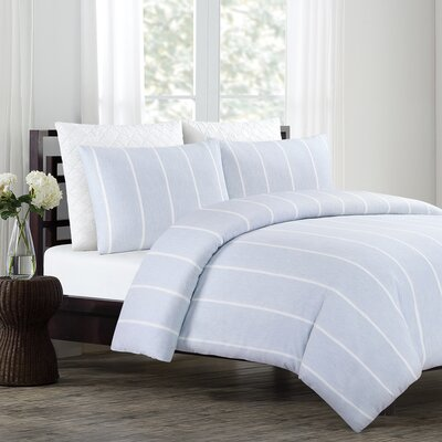 Soho 3 Piece Duvet Cover Set Color: Chambray Blue, Size: Full/Queen