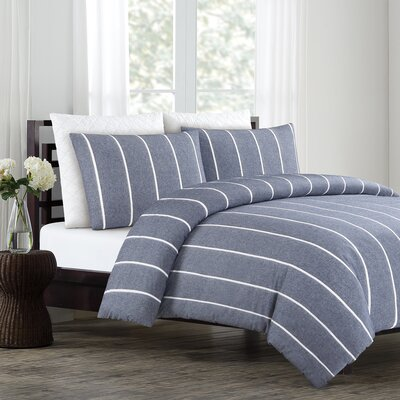 Soho 3 Piece Duvet Cover Set Color: Navy, Size: Full/Queen
