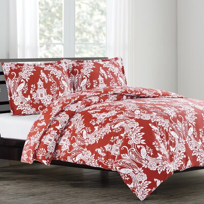 Pagoda Duvet Cover Set Size: King, Color: Cinnabar