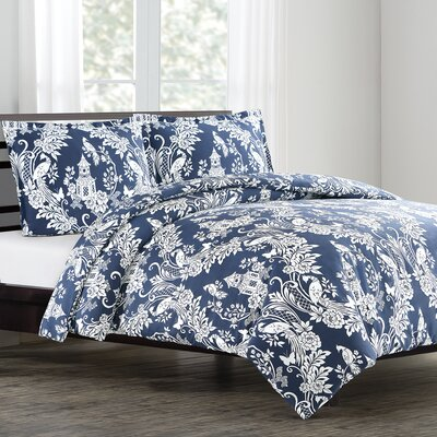 Pagoda Duvet Cover Set Size: King, Color: Chinois Blue