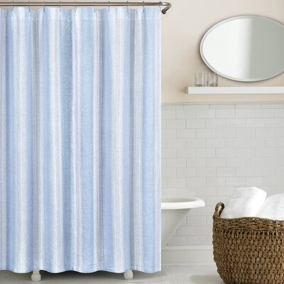 Stripe Washed Belgian Linen Shower Curtain Color: Blue