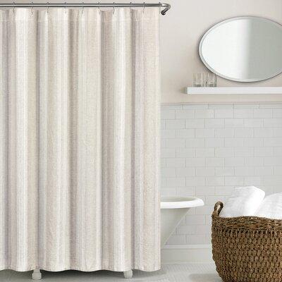 Stripe Washed Belgian Linen Shower Curtain Color: Natural