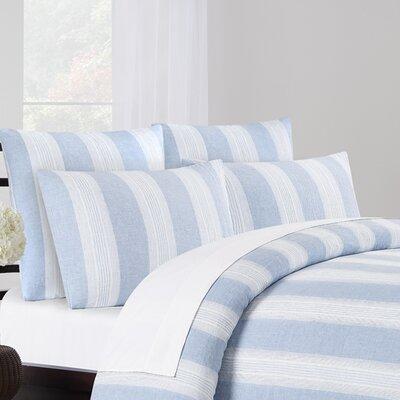 Vintage Washed Belgian Linen 3 Piece Duvet Cover Set Color: Blue, Size: King