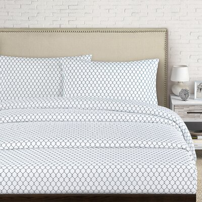 Fence 250 Thread Count Cotton Percale Sheet Set Size: Full, Color: Gray