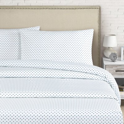 Cleo 250 Thread Count Cotton Percale Sheet Set Color: Zinc, Size: Full