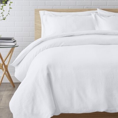 Washed Belgian Linen 3 Piece Duvet Cover Set Color: Eggshell White, Size: Full/Queen