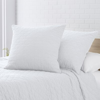 Susann Quilted Washed Belgian Linen Euro Sham Color: Eggshell White