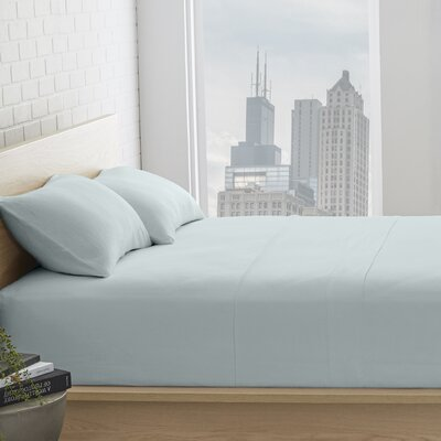 Bernadette Washed Belgian Linen Sheet Set Color: Seafoam, Size: Full