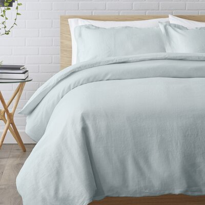 Washed Belgian Duvet Set Color: Seafoam, Size: King
