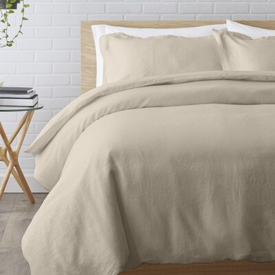 Washed Belgian Linen 3 Piece Duvet Cover Set Color: Stone, Size: King