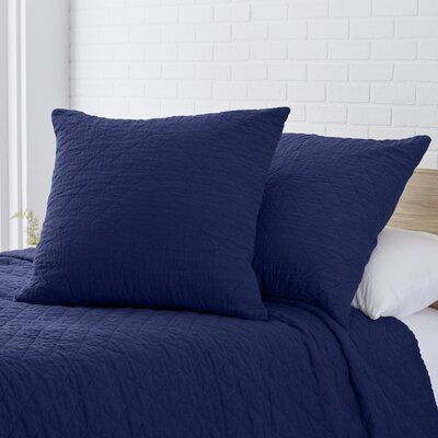 Quilted Washed Belgian Linen Euro Sham Color: Indigo Blue
