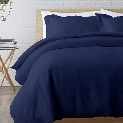Washed Belgian Linen 3 Piece Duvet Cover Set Size: Full/Queen, Color: Indigo Blue