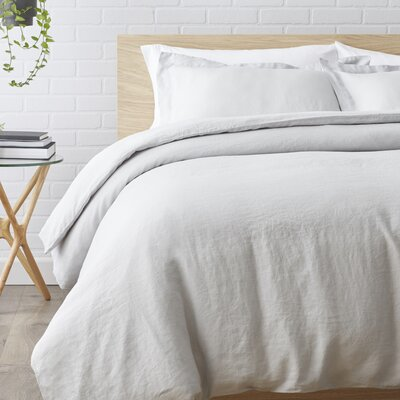 Washed Belgian Linen 3 Piece Duvet Cover Set Color: Silver Gray, Size: King