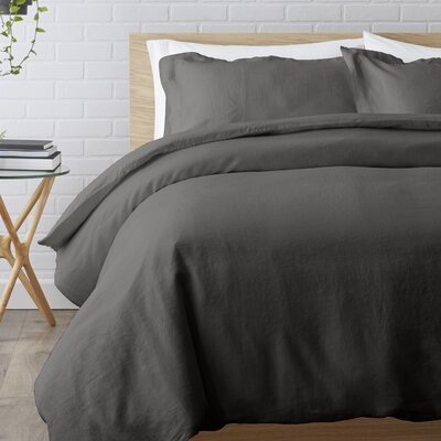 Washed Belgian Linen 3 Piece Duvet Cover Set Color: Slate Gray, Size: King