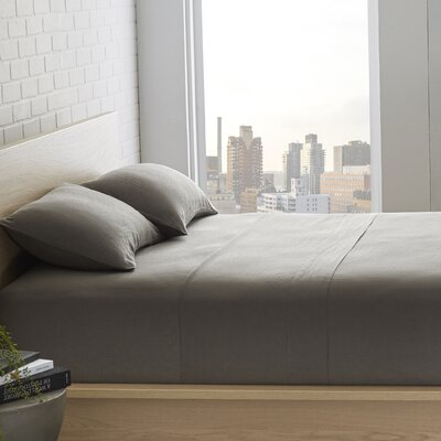 Bernadette Washed Belgian Linen Sheet Set Color: Slate Gray, Size: Full