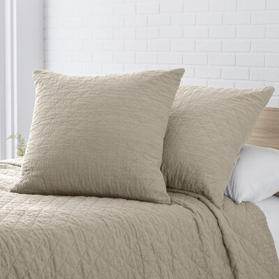 Susann Quilted Washed Belgian Linen Euro Sham Color: Stone