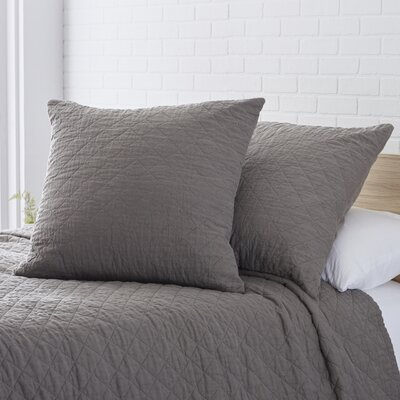 Quilted Washed Belgian Linen Euro Sham Color: Slate Gray