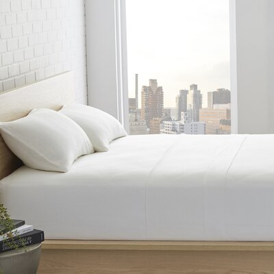 Bernadette Washed Belgian Linen Sheet Set Color: Eggshell White, Size: King