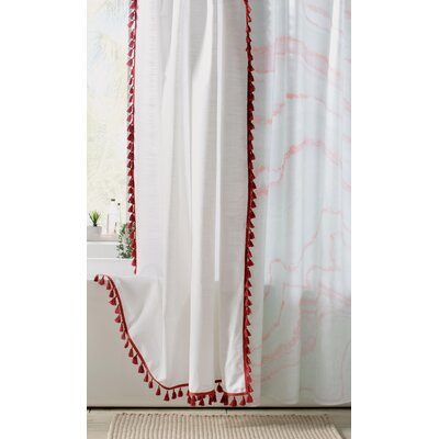 Suffield 100% Cotton Tassel Shower Curtain Color: Claret