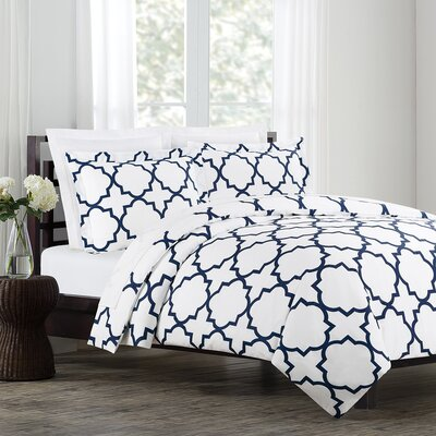 Prattsburgh Duvet Set Size: Full / Queen, Color: Navy