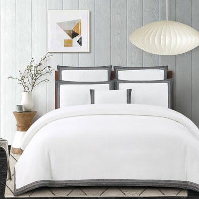 Blatherwick Embroidered 100% Belgian Linen 3 Piece Duvet Cover Set Color: Slate Gray, Size: Queen
